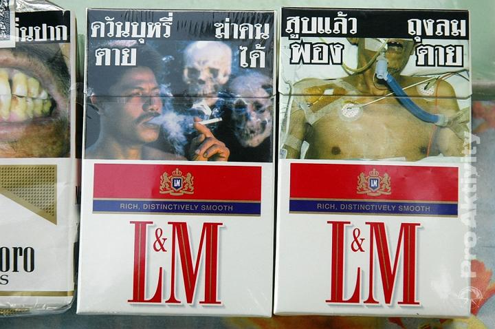 Thajsko - fotky na cigaretách byly v civilizovaných zemích už před rokem 2005