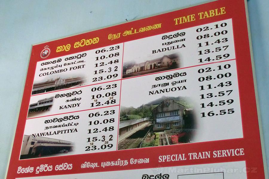 Talawakelle - Vlakový jízdní řád