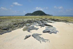 Moluky, Bandské ostrovy - ostrov Nailaka - pohled na ostrov Run při odlivu