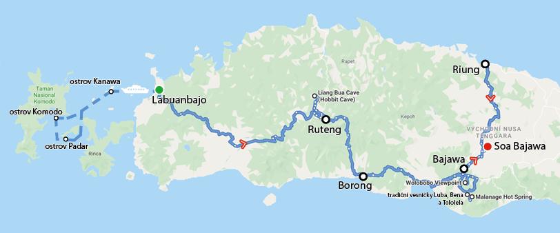 Indonésie 2019 - trasa cesty