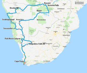 Trasa cesty Jižní Afrika 2006